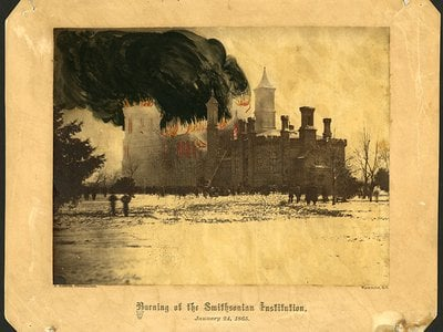 The Smithsonian Castle Building, in a colorized photograph taken by Alexander Gardner, was severely damaged in a January 1865 fire.