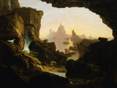 To 17th-century scholars, it made perfect sense that fossils on mountain sides and deep in the ground had been left there in the wake of the biblical flood (above The Subsiding of the Waters of the Deluge by Thomas Cole, 1829).