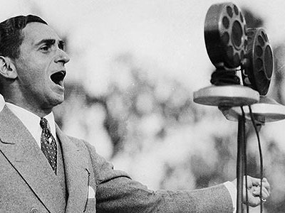 Irving Berlin singing at the dedication of the Los Angeles City Hall.