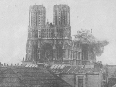 A German artillery shell hits the cathedral
