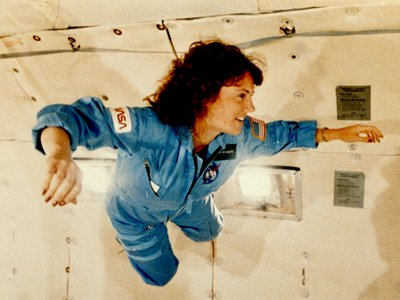 """Christa McAuliffe received a preview of microgravity during a special flight aboard NASA's KC-135 """"zero gravity"""" aircraft. She was to be the first in a series of civilians in space"""