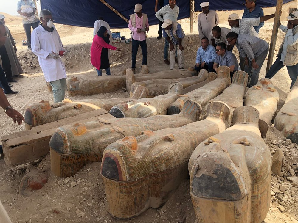 Ancient Egyptian coffins Luxor