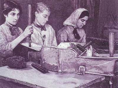 Women dynamite workers at one of Alfred Nobel's factories in the 1880s.