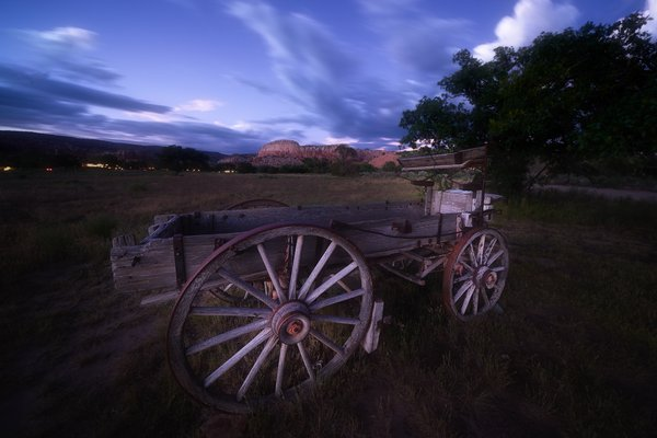 A High Wheel Wagon rests in the Ghost Ranch thumbnail