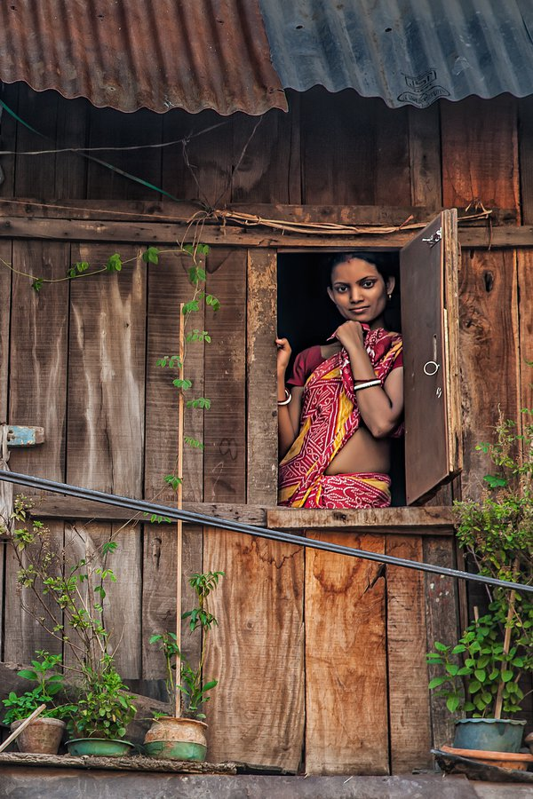 A lady at the window of her shanty. thumbnail