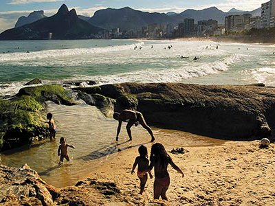 People of every income level and skin color mix comfortably on Rio's gorgeous beaches like here at Ipanema-Leblon.