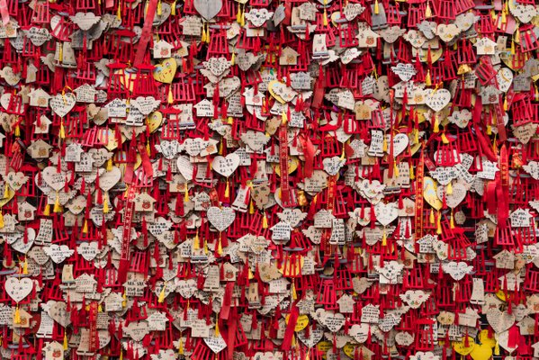 Wall of wishes in a temple in Chengdu, China thumbnail