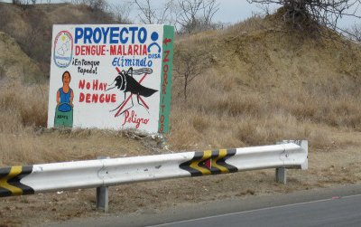 This sign just north of Tumbes is a clear sign, if the mangroves aren't, that one is entering the muggy, and in some ways dangerous, tropics.