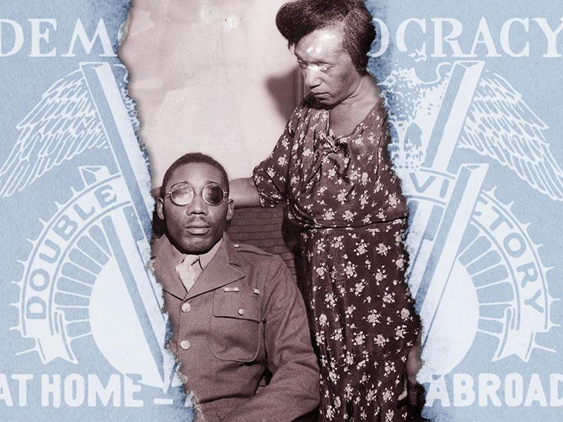 """Illustration of Isaac Woodard and his mother next to the Pittsburgh Courier's """"Double V"""" campaign poster"""