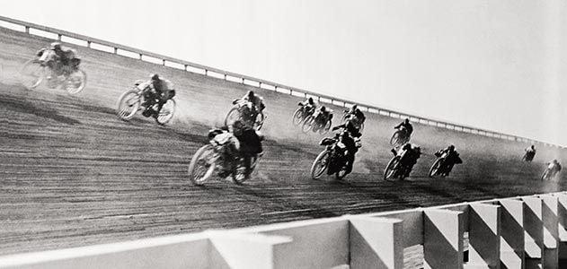 Racing on wood track