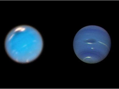 The most recent vortex on the left and the first one discovered in 1989 by Voyager 2.