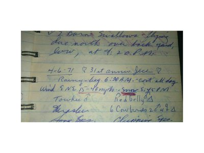 James Eike's field book entry for April 6, 1971; his 31st Anniversary.