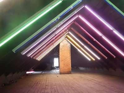 """A light installation by visual artist Edward Raffel titled """"Rafter Dance"""" from the 2017 Rooms to Let: CLE event."""