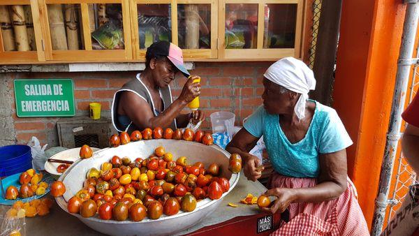 Fruit merchants at the market Cali, Colombia thumbnail