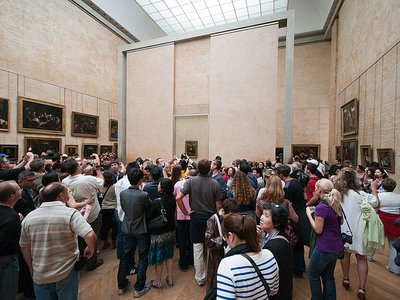 Leonardo da Vinci's masterpiece is normally housed in the Louvre's Salle des États gallery