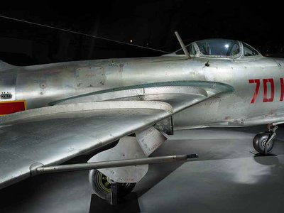 The Soviet MiG-15, a formidable aircraft, shocked the West with its ability to do hit-and-run attacks. The National Air and Space Museum displays one of these jets in the Boeing Aviation Hangar of its Udvar-Hazy Center in Chantilly, Virginia.