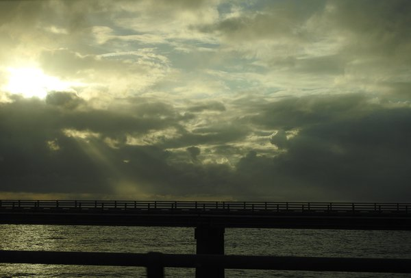Sunset after the rain, on the Chesapeake Bay Bridge/Tunnel thumbnail