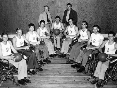The Rolling Devils pose for a team photo, c. 1947.