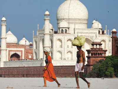 The Taj backs up against the once-vibrant Yamuna River, now often dried to the point where locals can walk in the riverbed.