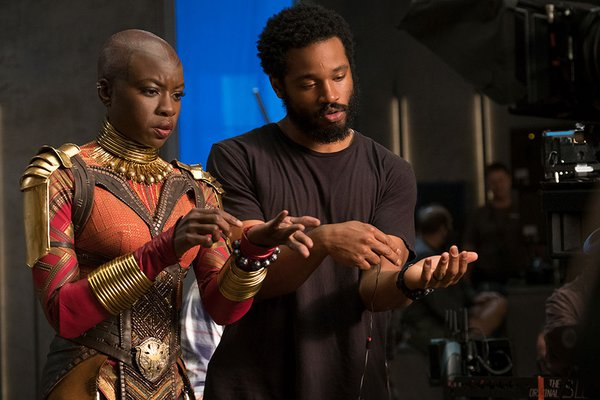 [Ryan Coogler and Danai Gurira on the set of the film <i>Black Panther</i>], 2017. Matt Kennedy. Collection of the Smithsonian National Museum of African American History and Culture, Gift of Marvel Studios and The Walt Disney Company, © Marvel/Matt Kennedy.