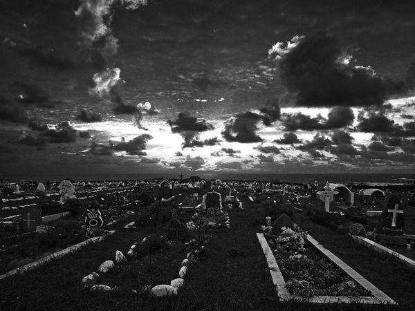 Graveyard at sunset, Hanga Roa, Easter Island thumbnail