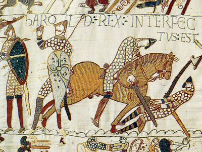 The Bayeux Tapestry depicts Harold II with an arrow jutting from his head, but whether the English king actually died in this manner remains a point of contention.