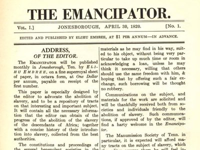 A 1932 facsimile of the first issue of the Emancipator, published on April 30, 1820