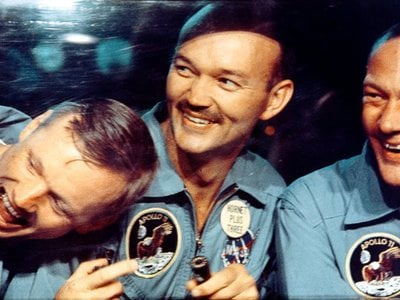Commander Neil Armstrong, Command Module Pilot Michael Collins and Lunar Module Pilot Buzz Aldrin, July 24, 1969