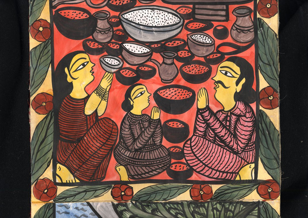 Scroll painting depicting people kneeling next to pottery.