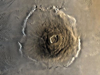 Olympus Mons on Mars, the solar system's tallest mountain, as seen from the Viking orbiter