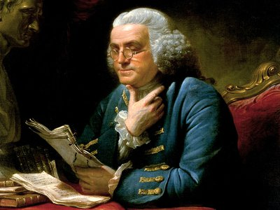 Benjamin Franklin reading letters, which may or may not have been written by his female friends.