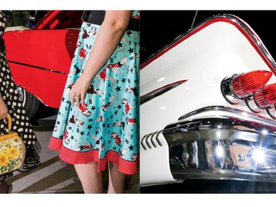 Left: Visitors roam the Portland show wearing vintage fashions from the Washington State boutique BelAir Betties. Right: The tail section of a 1958 Chevy Impala, customized with 1959 Cadillac taillights, on display at the 63rd annual Portland Roadster Show.