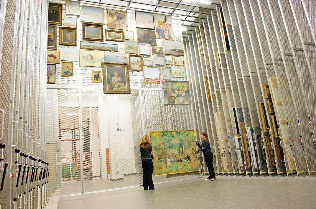 Image of Hirshhorn Museum's art hanging storage