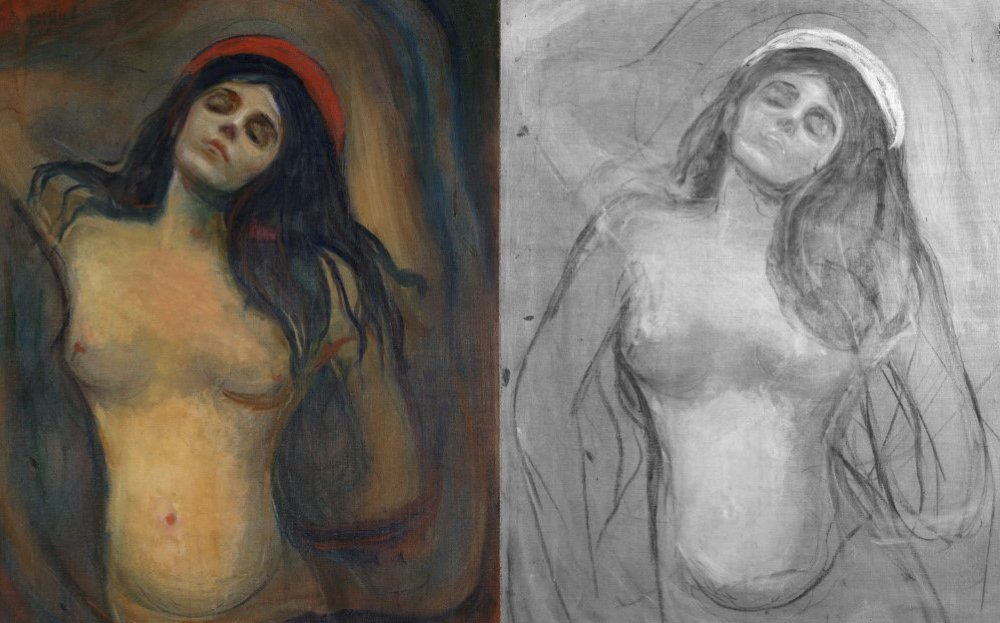 A color version of the image of a nude woman, left, next to a black and white version of the underdrawing for the painting, which shows the woman's arms lowered at her sides