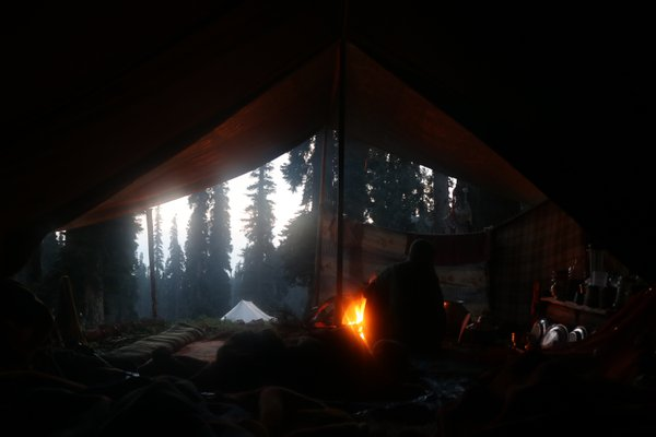 Nomadic women preparing morning breakfast for her family. thumbnail