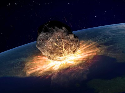 An artist's illustration shows an asteroid hitting Earth. Large impactors hit the planet every one to three million years.