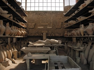 The view inside Pompeii's old granary