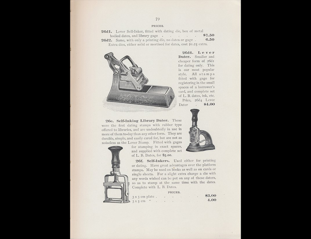 Trade catalog illustration of various models of stamps.