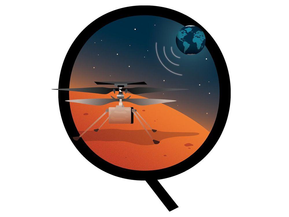 illustration of ingenuity helicopter on Mars