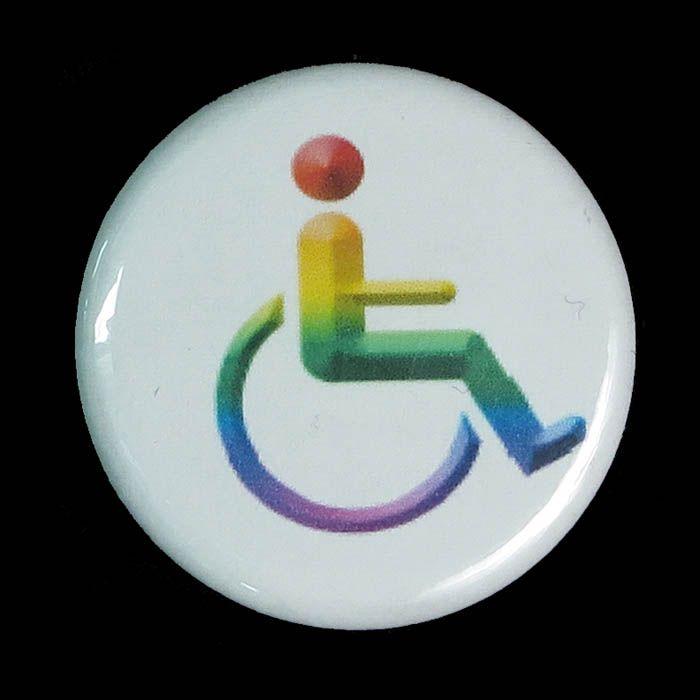 White button printed with rainbow wheelchair symbol