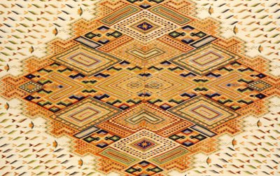 """Saltillo Sarape, Maximilian Period c.1865 91 5/16 x 48 7/16 inches, wool, silk and metalic thread wefts on cotton warp Fred Harvey Collection, International Folk Art Foundation Collection, Museum of International Folk Art, Santa Fe, New Mexico. Inscribed in the end border: """"Epifanio Jemenez"""", probably the patron for whom it was woven."""