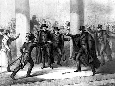An unemployed painter named Richard Lawrence attempted to assassinate President Andrew Jackson in January 1835.