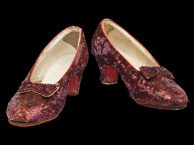 The sequins on the shoes are so delicate that conservators clean them with a Q-tip and a little cold water.