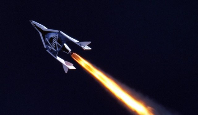 Virgin Galactic's SpaceShipTwo during yesterday's test.