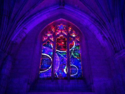 Beneath the Space Window at the National Cathedral in Washington, D.C., where a seven-gram sample of moon rock is incorporated into the design, a sold-out crowd gathered this week for the celebration of the 50th Anniversary of Apollo 8.