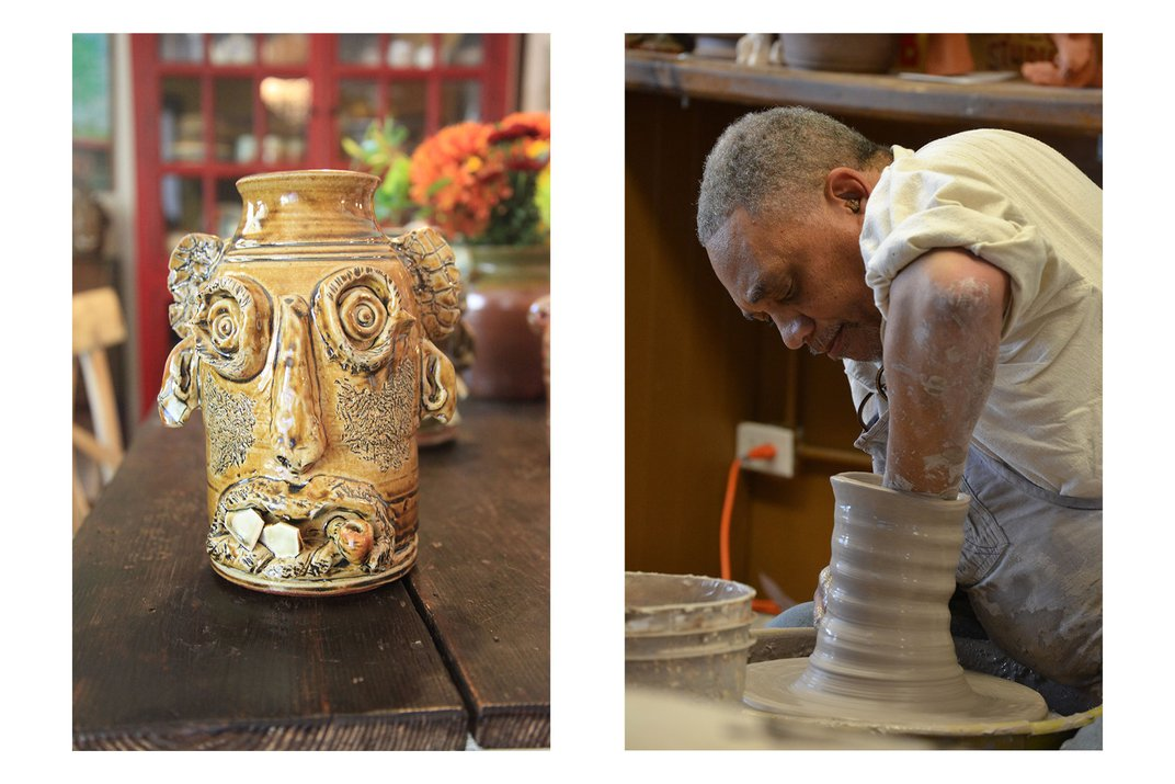 Left: Glazed ceramic jug in the likeness of a human face, light brown skin, chipped white china for teeth, and scratches on the cheek burned dark in the kiln. Right: An older Black man at a pottery wheel, one fist down the center of a cylinder of clay.