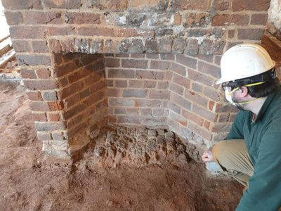 The hearth Hemings may have warmed herself by in Monticello's south wing.