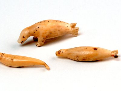 These walrus ivory carvings were collected in the mid-1880s. They were featured in a catalogue for the exhibition