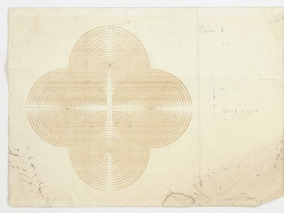 Etude 1, 1967- 1968, is a piece of Thermo fax paper with an image that looks like a four-leaf-clover, with four overlapping circles. Each circle has concentric inner circles composed of individual letters of the alphabet.