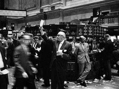 The New York Stock Exchange trading floor in 1963.